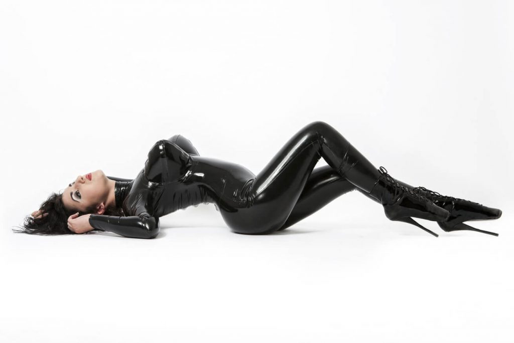got brunette in latex outfit