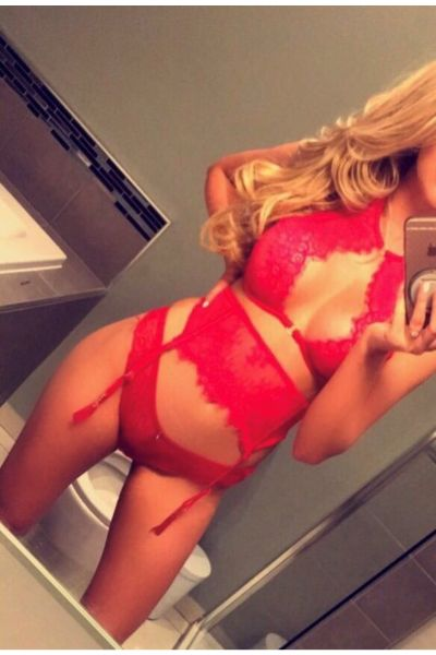 hot blonde in red lingerie