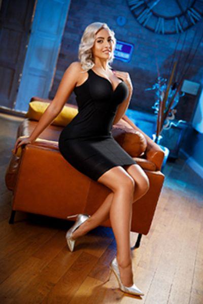 sexy blonde in evening wear