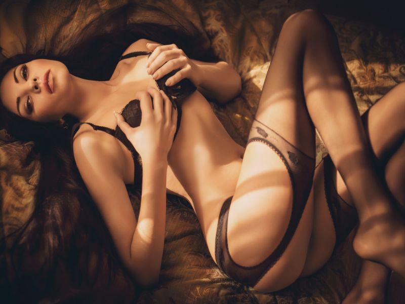 Model in bed posing