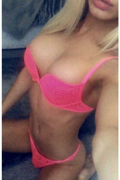 Blonde model in pink underwear