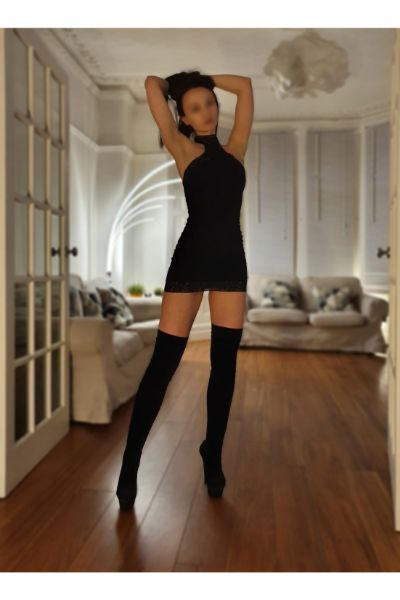 petite euro babe in a black dress