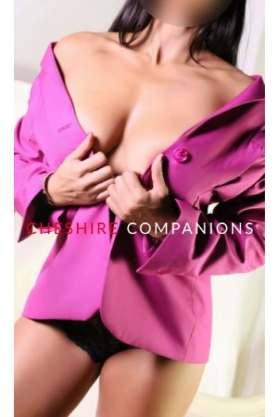 sexy pink jacket over topless woman