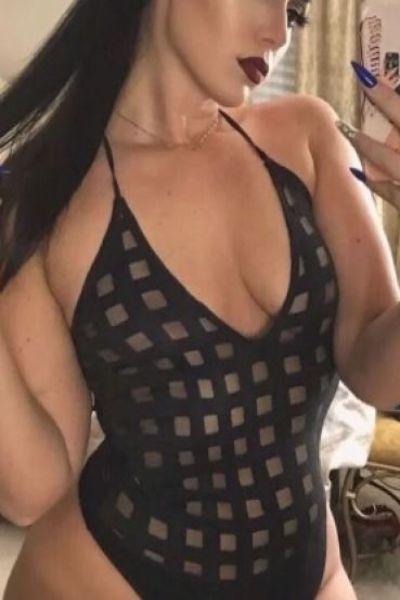 horny escort in black lingerie