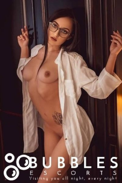 naked companion sporting glasses and business shirt
